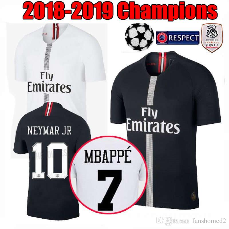 e7d724aaf35 2019 18 19 Psg Jersey 7 Mbappe Black White Champions League Maillot De Foot  2018 2019 Paris 9 CAVANI CHOUPO MOTING Third 3rd Soccer Shirts From  Fanshomed2