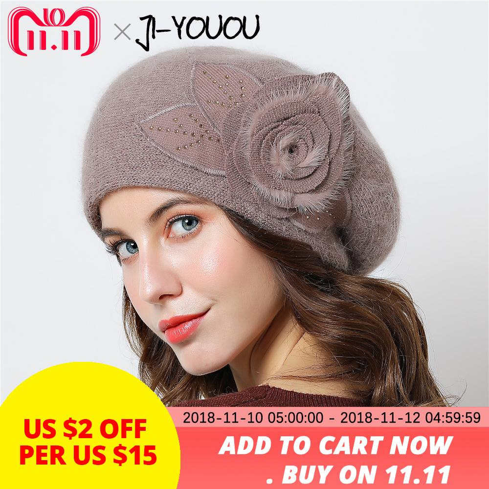 Double Layer Design Winter Hats For Women Hat Rabbit Fur For Women S  Knitted Hat Big Flower Cap Beanies 2018 New Women S Caps D18110601 Cap Shop  Knitted Hat ... 43bfedbfb