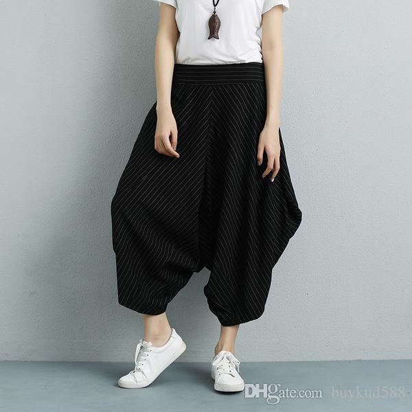 08bb30f7ad Summer Stripe Wide Leg Low-crotch Fashion Women Black Pants Women Stripe Pants  Women Wide Leg Pants Low Crotch Pants Online with $54.53/Piece on  Buykud588's ...