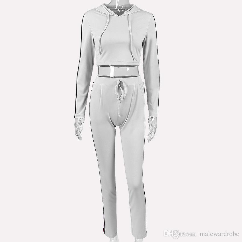 Bayan Örme Spor Takım Elbise Siyah Gri Eşofman Rahat Kısa Hoodies Kazaklar Uzun Pantolon 2 adet Setleri Jogging Yapan Pantolon Suits