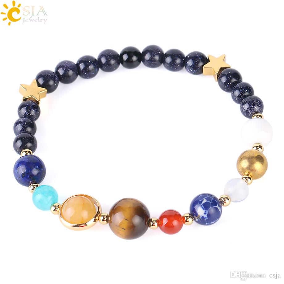 CSJA Solar System Planets Bracelets Guardians of the Galaxy Bracelet Blue Sand Stone Beads Men Women Lover Lucky Pulseras Jewelry Gift F350