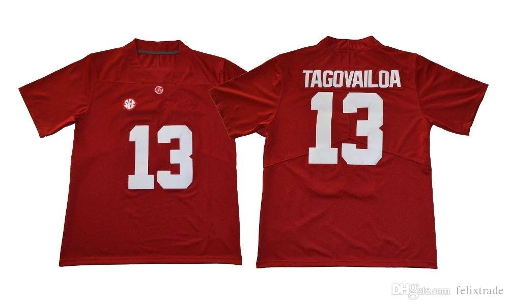 timeless design a5532 3dc67 Mens Alabama Crimson Tide 13 Tua Tagovailoa College Football Jersey Double  Stiched IN STOCK Free Shipping