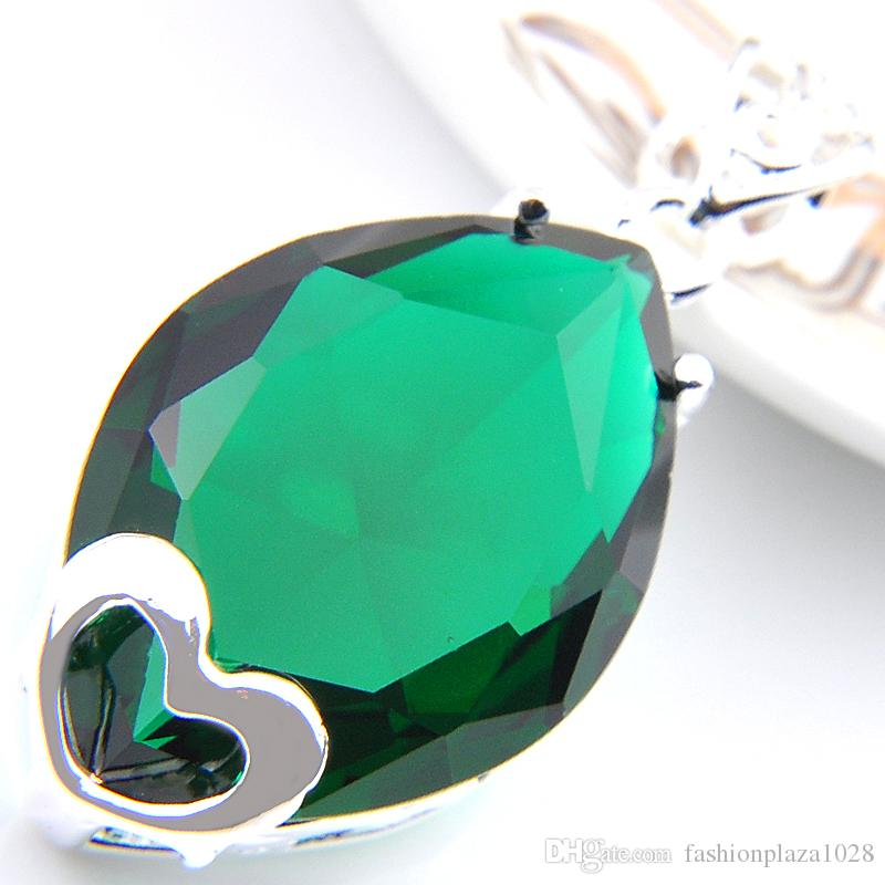 Special Offer Luckyshine Gorgeous Shiny Heart-shaped Green Quartz Gems Silver Necklace Pendants Jewelry For Women
