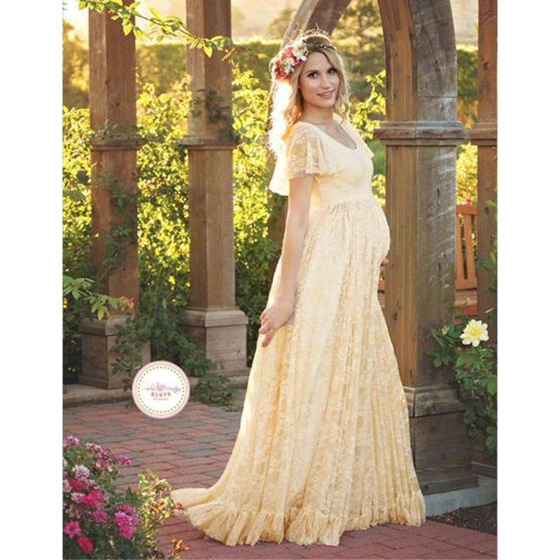 322fe2985f5 2019 Maxi Gown Maternity Dresses For Photo Shoot Maternity Photography  Props Lace Pregnancy Dresses For Pregnant Women Vestidos 2018 From  Paradise02