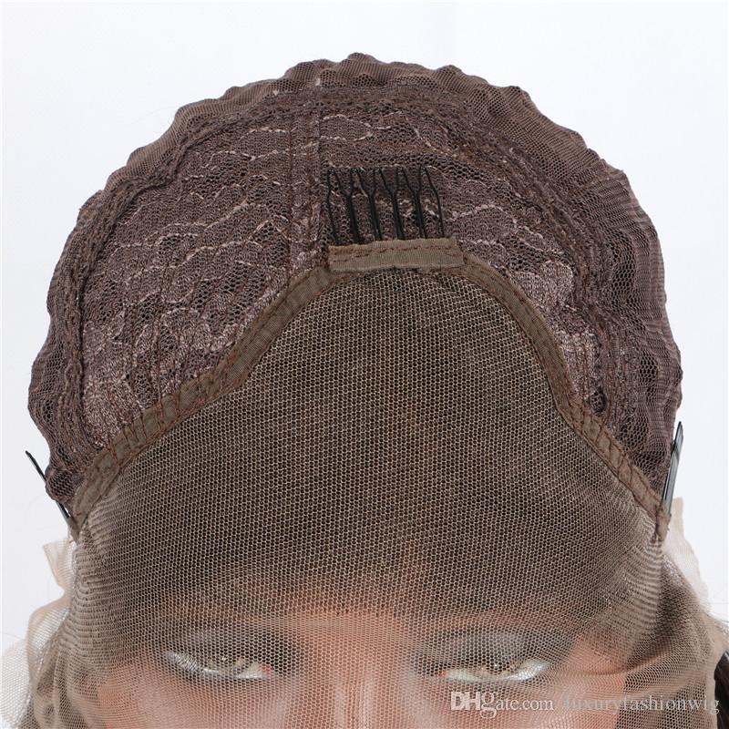 Perruques en dentelle couleur de la photo Cheveux teints Mélange Gris Ombre Résistant à la chaleur Fibre Smokey Gris foncé Long corps Vague Sans Col Synthétique Devant Dentelle