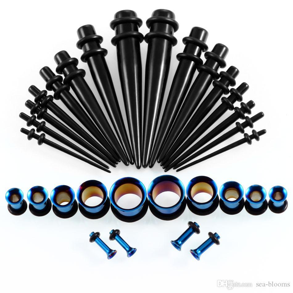 es 14G-00G 36 unids / set Calibradores Del Oído Kit de Estiramiento Tapones Tapones Anillos de Oído Único Llamarada Ear Plug Body Joyería Pendiente G77L
