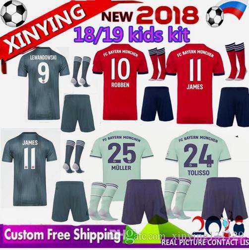 3bd9eb6ee 18 19 Bayern Munich Kids ROBBEN Soccer Jersey Kit Home James 2018 ...