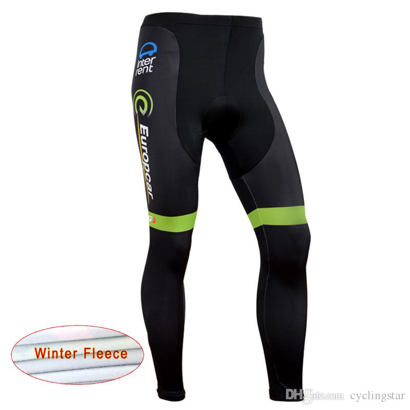 New Team Europcar Winter Thermal fleece cycling Clothing men's mountain bike jersey bib pants set MTB bicycle outdoor sportswear A1103