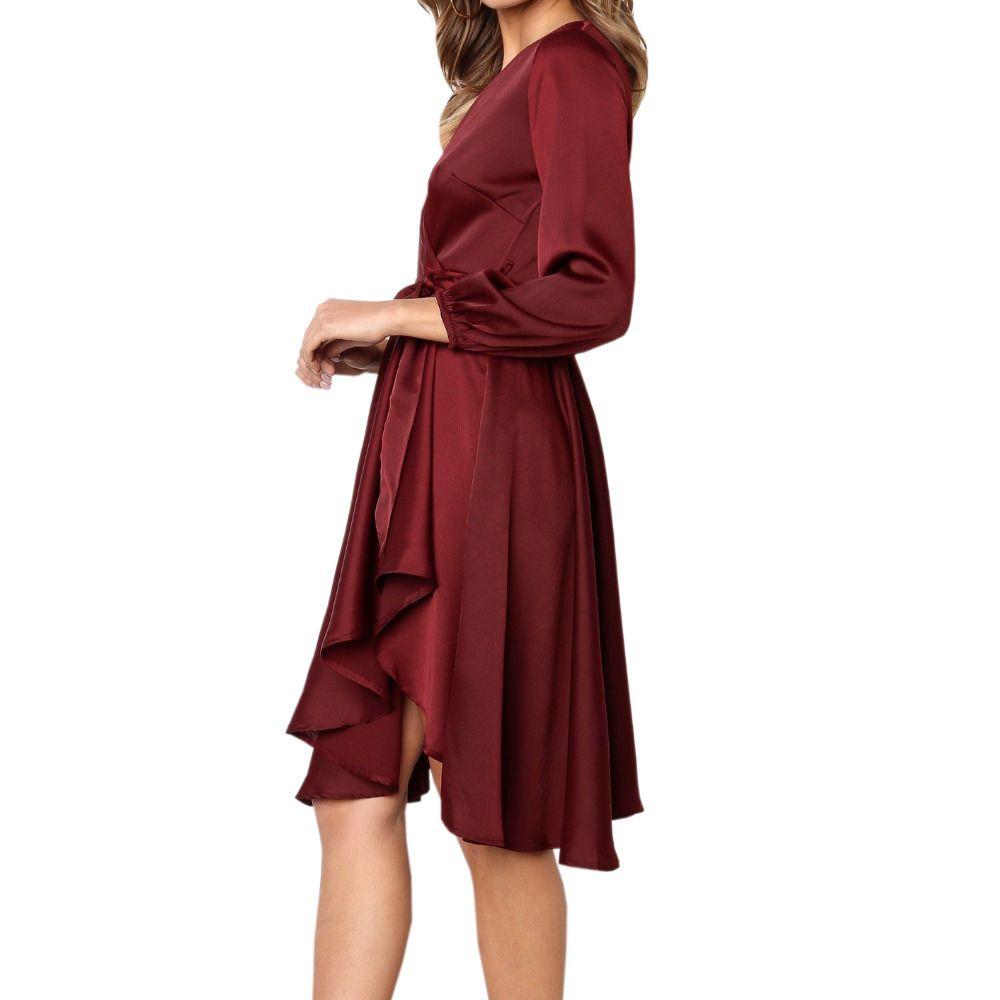 81e575e210e9 Herbst Frauen Irregula Knielangen Kleider Langarm Rot Solide Frauen  Schärpen Wrap SatinDress Elegantes V-ausschnitt Casual Dress M0031