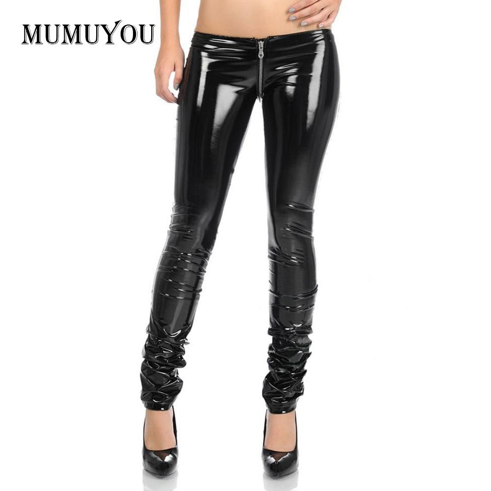 Women Latex Rubber Full Zipper Low Waist Long Pants Skinny Pencil Leggings Sexy PVC Metallic Black Erotic Nightclub Wear 906-292