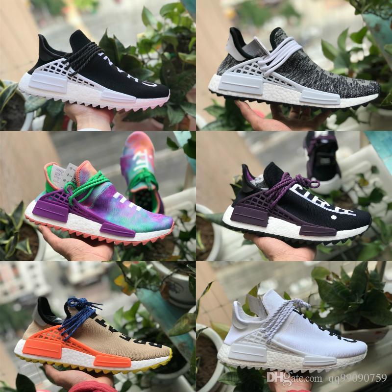 2018 pharrell williams race humaine nmd chaussures Nouveau nmds hommes femmes chaussures de sport noir blanc gris primeknit PK coureur 2 marque de