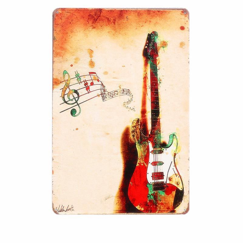 Vintage Music and Guitar Lovely Gift Metal Tin Signs Wall Decor Art Posters  Bar Retro Plaques Painting Home Decor 20x30cm N015 Y18102409