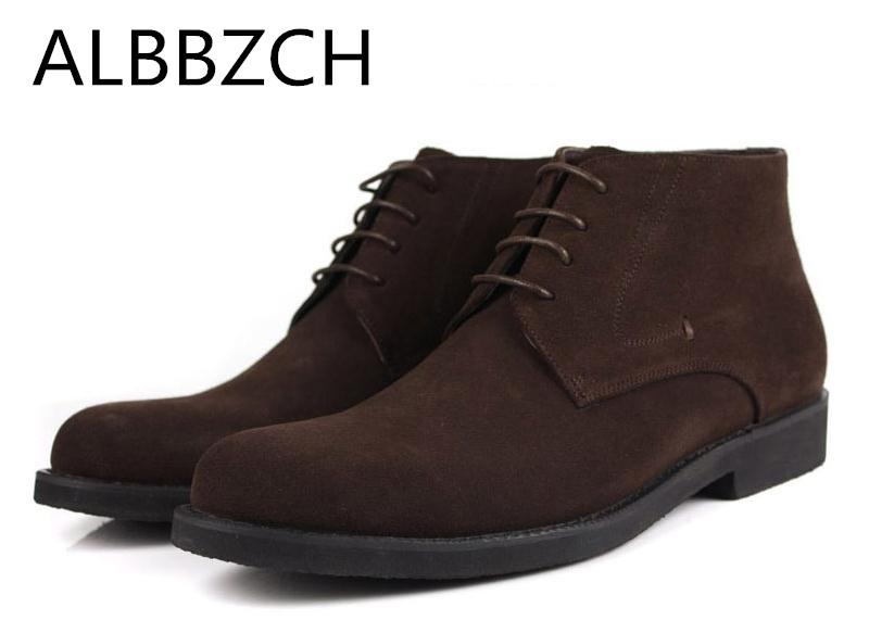 New arrival nubuck leather men boots round toe lace quality suede mens fashion trend business dress ankle boots daily work