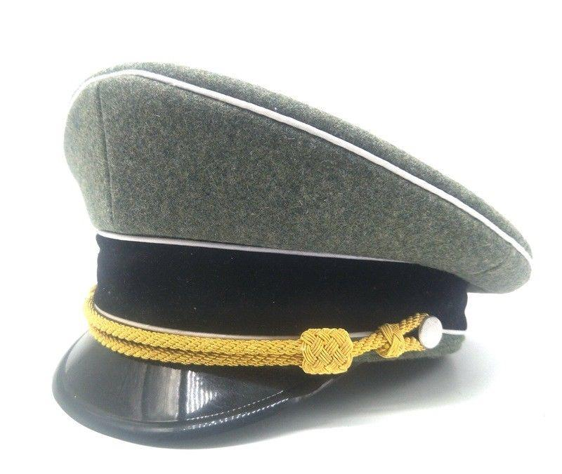 6c77071651f 2019 WWII GERMAN ARMY ELITE OFFICER VISOR CAP WOOL FIELD HAT GOLD CORD  World Store From Youtuo