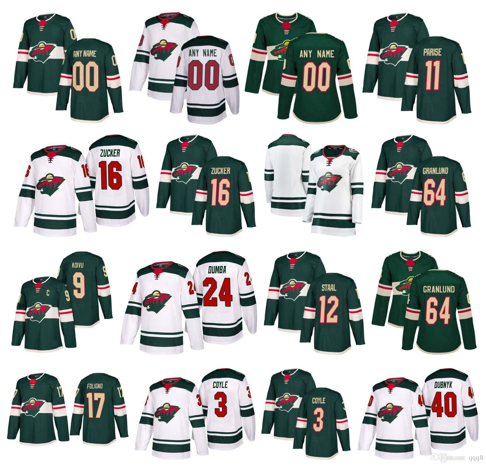 huge selection of 98c4f 46744 Customized Minnesota Wild Jersey Jason Zucker Zach Parise Mikael Granlund  Matt Dumba Eric Staal Ryan Suter Mikko Koivu Coyle Stitched Hockey