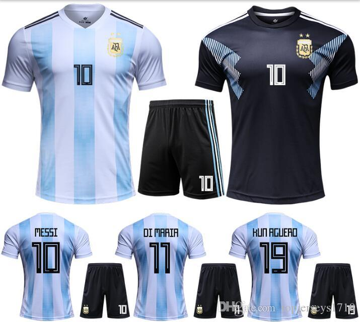 Compre 2018 2019 Argentina Soccer Jersey 2018 Argentina Camisa De Futebol  Em Casa   10 MESSI   9 AGUERO   11 DI MARIA Kits De Uniformes De Futebol De  ... 534c5203f0529