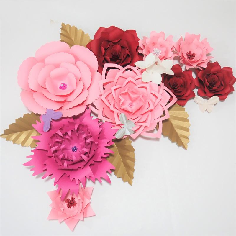 Hot Mix Giant Paper Flowers 9pcs 1 Bunch Hydrangea Flowers 4 Leaves 3 Butterflies For Wedding Event Backdrop Baby Nursery