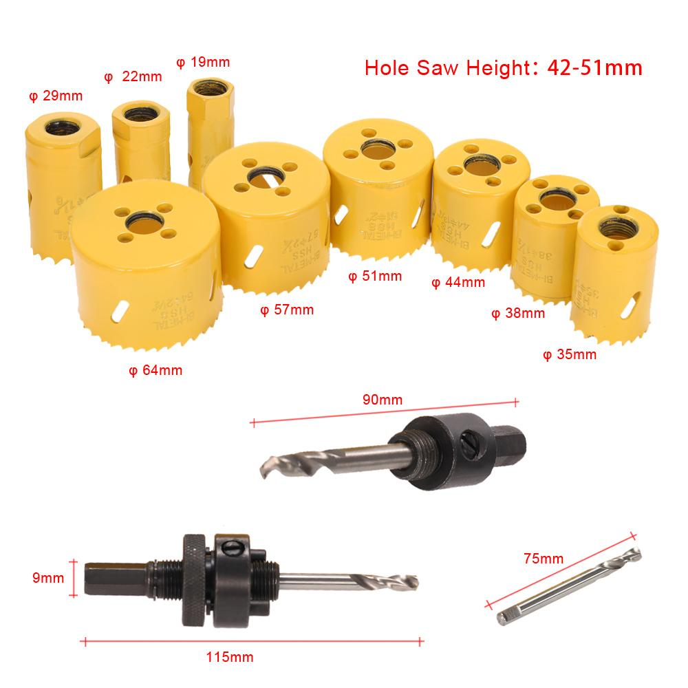 Freeshipping 13Pcs/lot drill tools herramientas furadeira Hole Saw Kit Drilling Tool Arbor Pilot Drill Set for Plumber Carpenter drill bit