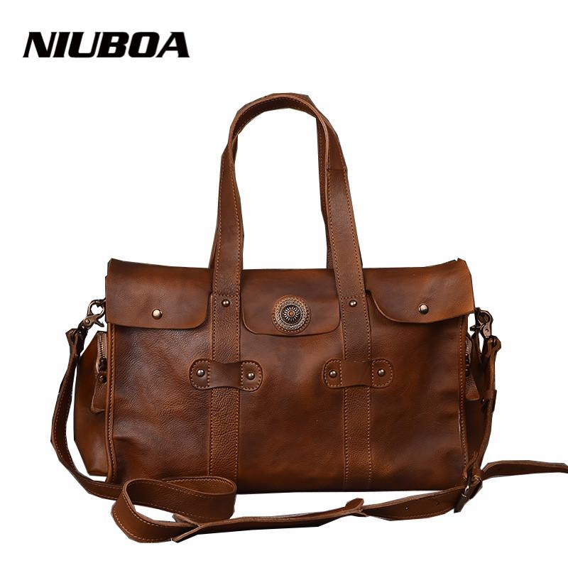 eefdb2170c2 NIUBOA Vintage Genuine Leather Travel Bag Men Soft Real Leather Duffel Bag  Luggage Travel Business Duffle Bags Weekend Tote Weekend Tote Leather  Travel Bag ...