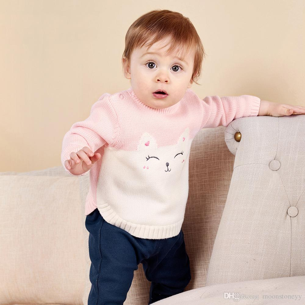 8860d53fead Baby Boys Girls Infant Sweater Autumn Winter Newborn Cotton Clothes  Pullover Sweater Pattern Open Shoulder For Kids White Baby Cardigan Girls  Cream Cardigan ...