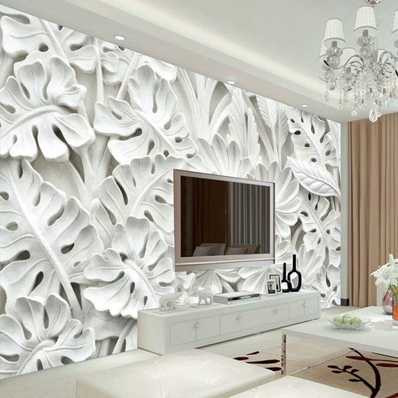 Acheter 3D Stéréoscopique Feuille Motif Plâtre Relief Murale Papier Peint  Salon TV Fond Mur Peinture Papier Peint Maison Décoration De $24.13 Du  Watchsaler ...