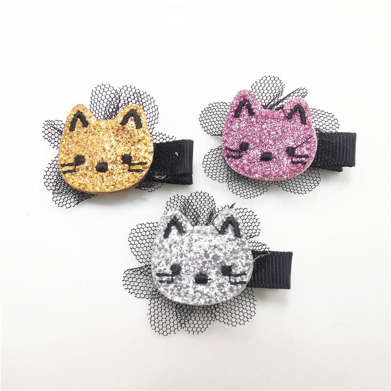 Glitter Felt Kitty Hair Clip Embroidery Cat Barrette With Black