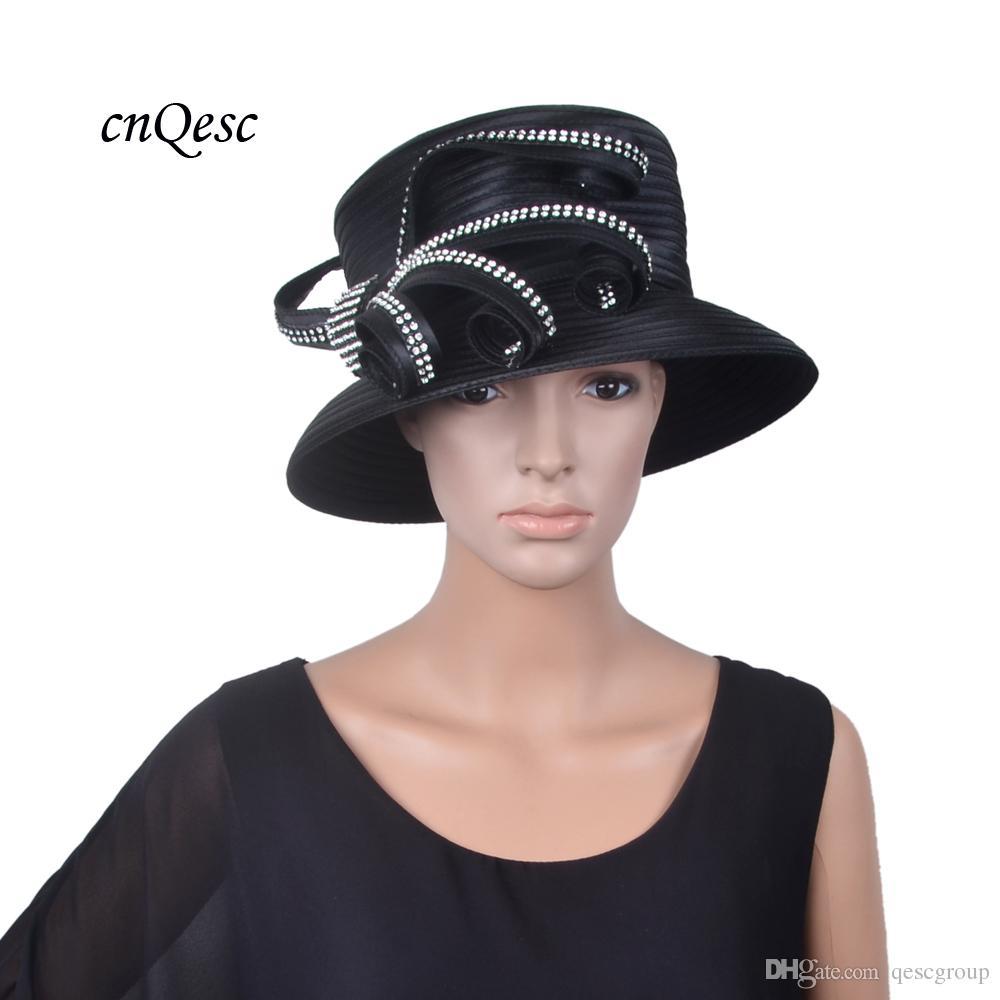 bedb39aedf0 2018 NEW ARRIVAL Black Church Hat Kentucky Derby Royal Wedding Hat Fedora  With Rhinestones