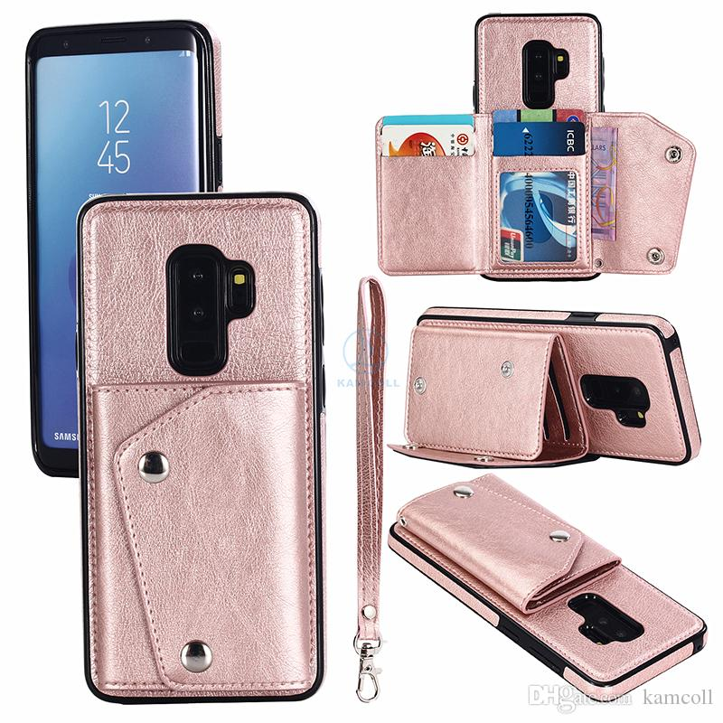 Cüzdan PU Deri Kılıf iphone 8 7 6 6 S Artı Cüzdan Arka Kapak Kılıfı ile Kart Yuvaları Yan Cep Samsung note8 S8 için