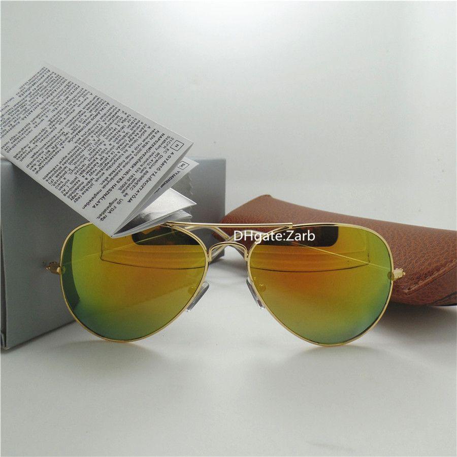 high quality Glass Lens Men Women Sunglasses UV400 Pilot glasses Beach Party 58MM Pilot Unisex Vintage Eyeglass Mercury Mirror With Box