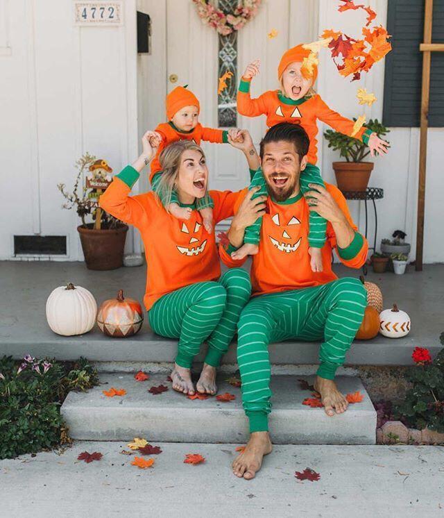 halloween baby kids women men pumpkin set long sleeve sweatshirt and pants family matching outift pajamas parent child clothing suit couple matching shirts