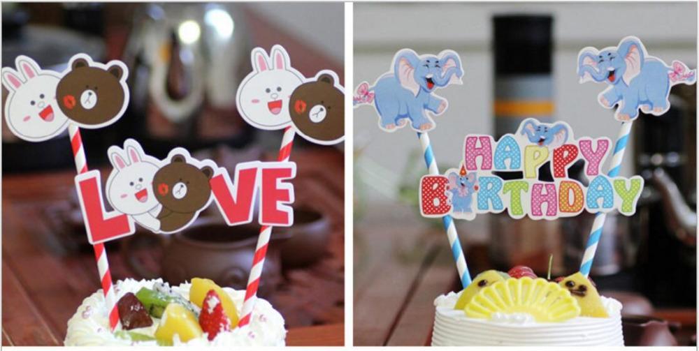 2019 Creative Cartoon Straw Accessory Cake Insert Happy Birthday