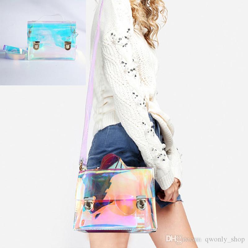 4ee40341771f Women Summer Beach Bag Laser PVC Clear Transparent Bags Small Tote Bag  Hologram Handbags Women Women Shoulder Bags