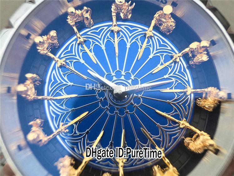 İyi Sürüm 45mm The Round Table Mavi minesinin Excalibur 45 RDDBEX0398 18K Sarı Altın Şövalyeler Dial Miyota Otomatik Erkek İzle Deri