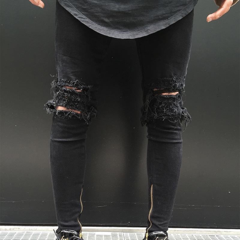 91fa16d63a6 Compre 2018 New Men Jeans Con Orificios Rasgados Zip Skinny Biker Jeans  Negro Blanco Con Patchwork Plisado Slim Fit Hip Hop Hombres Pantalones A  $26.53 Del ...
