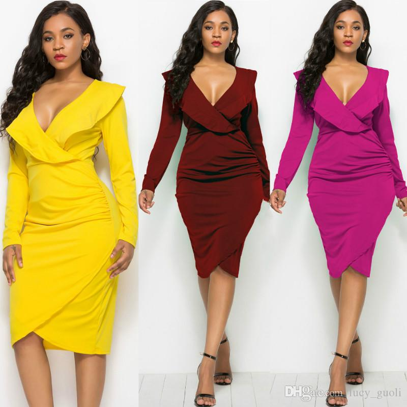 Sexy Slim Women Bodycon Dress Winter Vestido V Neck Party Dress Fashion  Elegant Long Sleeve Flower Bandage Dress Ladies Pencil Party Dresses  Cocktail Wear ... abb746f805e4