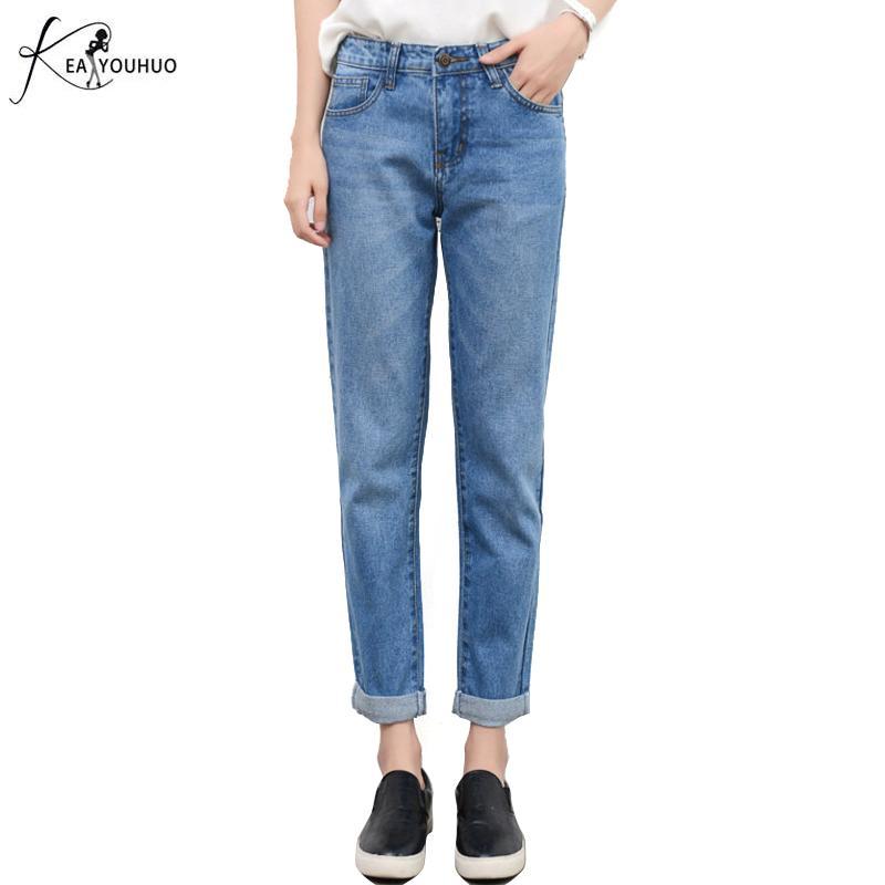 5b4afb1b14 Compre Pantalones De Verano 2018 Boyfriend Jeans Para Mujer De Cintura Alta Sueltos  Para Mujer Jeans Mujer Denim Mamá Pantalones Femeninos Más El Tamaño 4XL ...