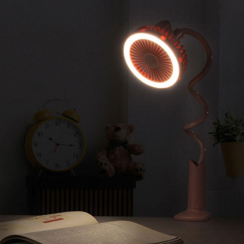 Lâmpada Fan LED Desk, 360 Graus ajustável Fan LED Light, Fan leitura de cabeceira com USB recarregável, vento Natural.