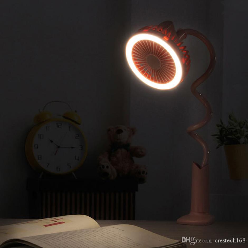 LED 데스크 램프 팬, 360도 조정 가능한 LED 라이트 팬, USB 충전, 자연 바람과 함께 침대 옆 독서 팬.
