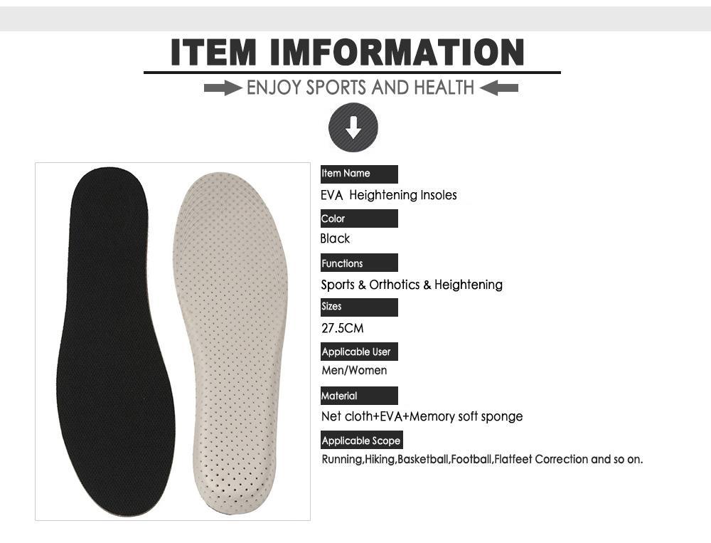 الرجال النساء للجنسين رغوة الذاكرة زيادة الارتفاع ارتفاع النعال منصات إدراج الحذاء وسادة، رغوة الذاكرة زيادة الارتفاع إدراج الحذاء