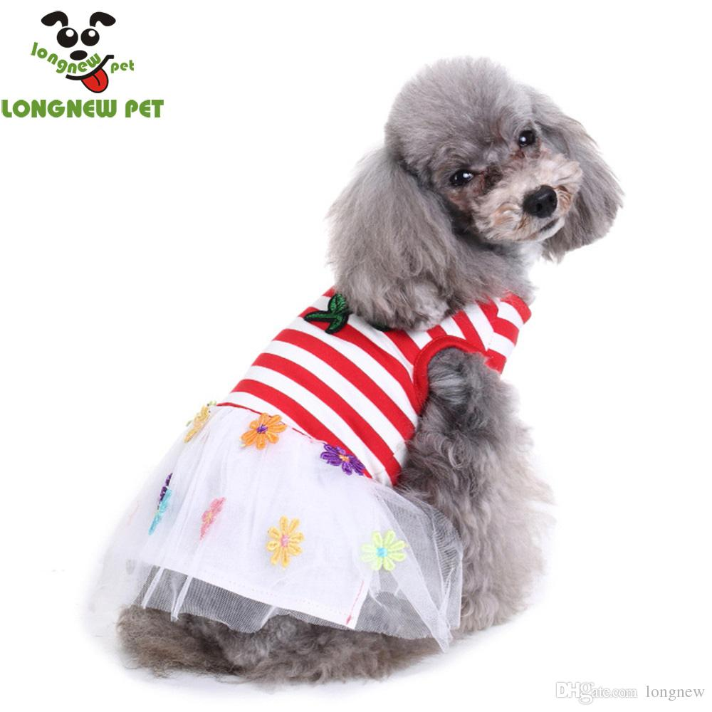 Pets Girl Dog Clothes Cheap Summer Dog Dress Wedding Skirts Pet Flower Stripe Dress Dogs Clothes Apparel For Dogs From Longnew   Dhgate Com