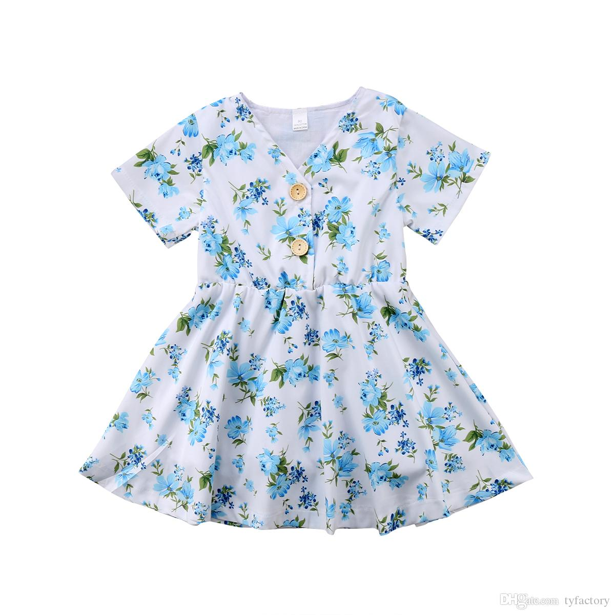 ab0a9b8cc 2019 Floral Baby Girls Princess Tutu Dresses Blue Flower Buttons Girl  Boutique Dress Clothing Toddler Clothes Party Wedding Dresses Kid Clothes  From ...