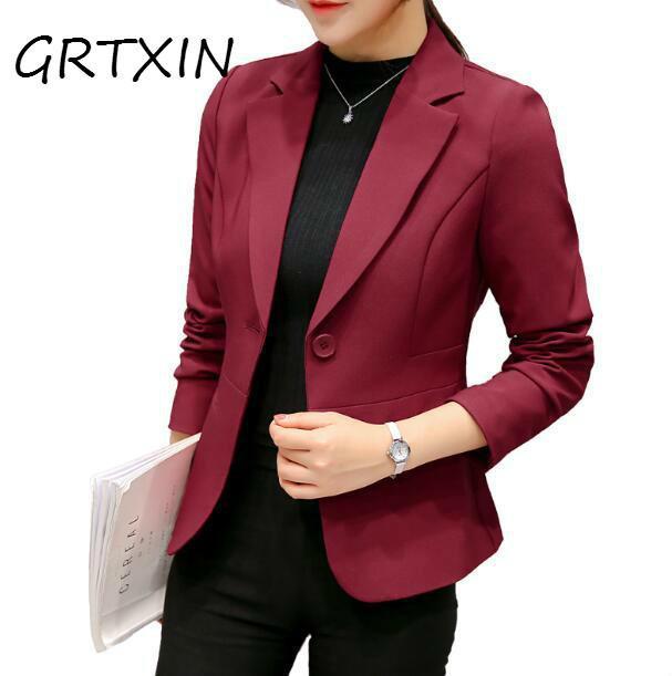 Compre Rojo Vino Negro Mujer Blazers Y Chaquetas 2018 Nuevo Primavera Otoño  Solo Botón Blazer Femenino Mujer Blazer Hembra A  34.53 Del Meicloth  6286b8ae2012