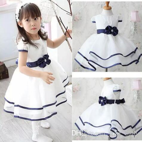 74525c0877b68 white blue hot selling girls dresses party pageant weeding vestidos fashion  lovely children sundress kids clothing set free shipping B11