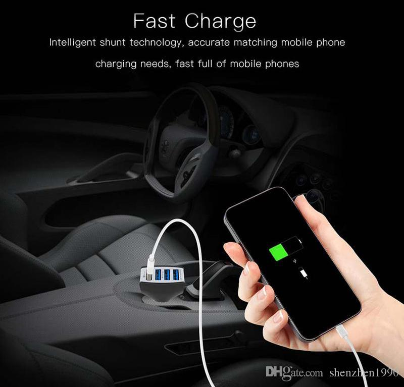 Car Charger Quick Fast Charge 12V 9V 5V 4 port QC3.0 USB Car cell Phone Chargers for Samsung LG Huawei High Quality