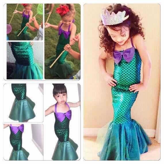 44df92aa6ce3 Acquista 3 13y Bambini Halloween   Natale Mermaid Cosplay Dress Verde Mermaid  Tail Costume Ragazze Ariel Pricess Kids Fancy Dresses A  46.07 Dal ...