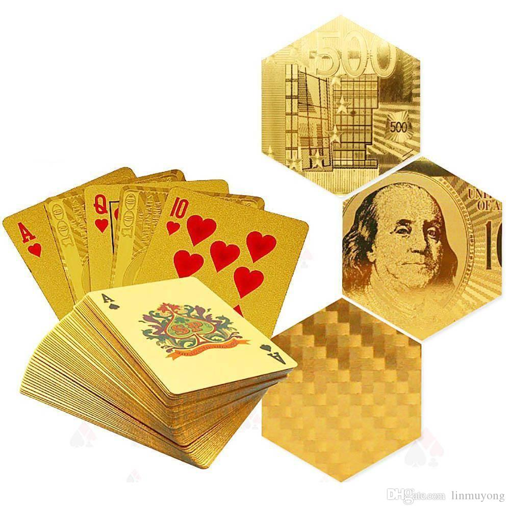 Stylish Waterproof 24K Gold Foil Plated Cover Poker 54 Playing Cards Table Game