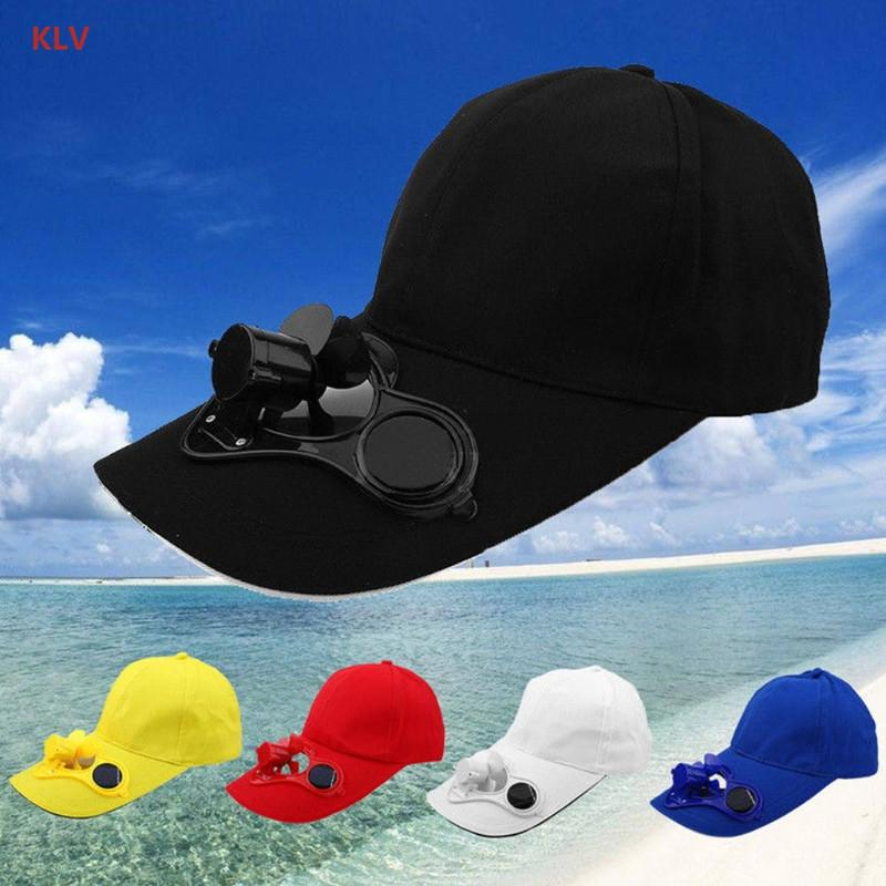 dc31b0dacf7 KLV Solar Panel Powered Fan Cooling Baseball Cap Summer Sport Outdoor Cap  Travel New Hat Stores Custom Trucker Hats From Poety