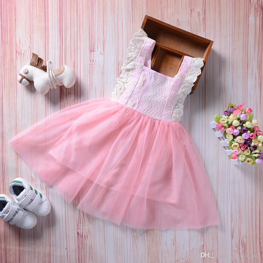 725a272ac2 Summer Infant Baby Girl Lace Princess Tutu Dress Pink Sleeveless Sundress  Bowknot Solid Party Pageant Dresses Cute Girls Clothes 2-7Y Baby Girl  Princess ...