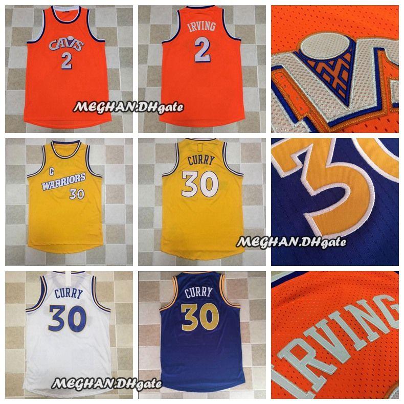 Acquista Uomo Irving Boston Basketball 2 Kyrie Irving Maglie Retro 30  Stephen Curry Dense Au Maglie Tessuto Maglie Dense Logo Blu Bianco Arancione  Glod A ... 817f91ce315a
