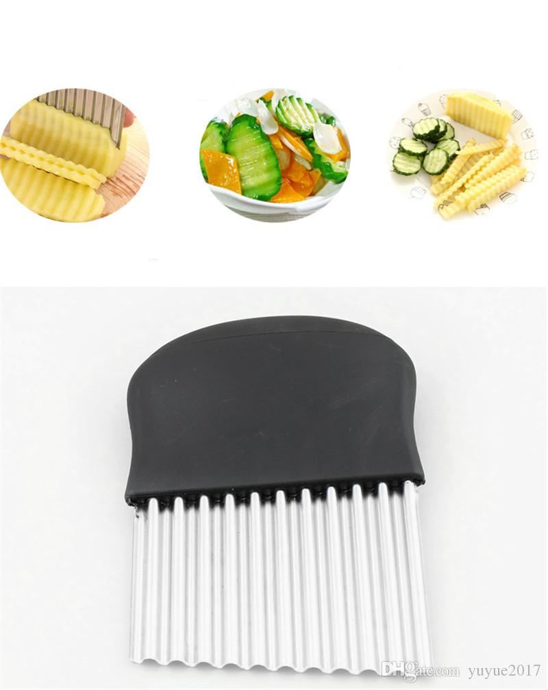 2018 Hot sale Kitchen Tools Vegetable Gadgets Wave Chopper Potato Cutter Knife Onion Fork Holder Slicing Stainless Steel